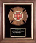 Genuine Walnut Frame With Fireman Casting Fire and Safety Awards